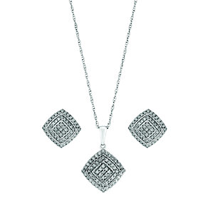 Silver 1 Carat Diamond Square Cluster Earring & Pendant Set - Product number 2779951