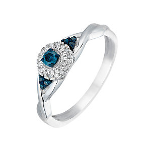 Silver Diamond & Treated Blue Diamond Solitaire Ring - Product number 2780062
