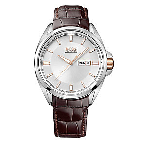 Hugo Boss men's stainless steel brown leather strap watch - Product number 2781131