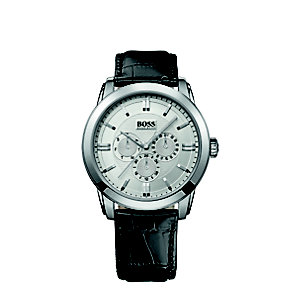 Hugo Boss men's stainless steel black leather strap watch - Product number 2781166