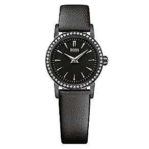 Hugo Boss ladies' ion-plated black leather strap watch - Product number 2781360