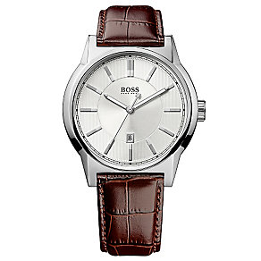Hugo Boss men's stainless steel brown leather strap watch - Product number 2781395