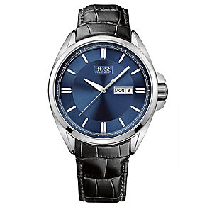 Hugo Boss men's stainless steel black leather strap watch - Product number 2781484