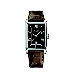 Hugo Boss men's stainless steel brown leather strap watch - Product number 2781530
