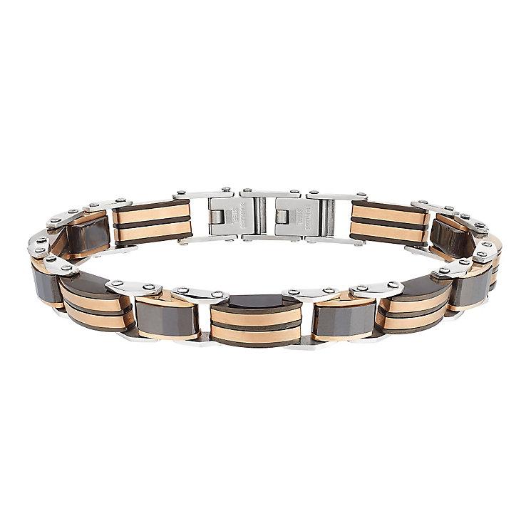 Black Ceramic & Stainless Steel Bronze Tone Link Bracelet - Product number 2781549