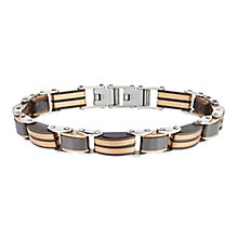 Black Ceramic & Stainless Steel Bronze Tone Link Bracelet - Product number 2781549