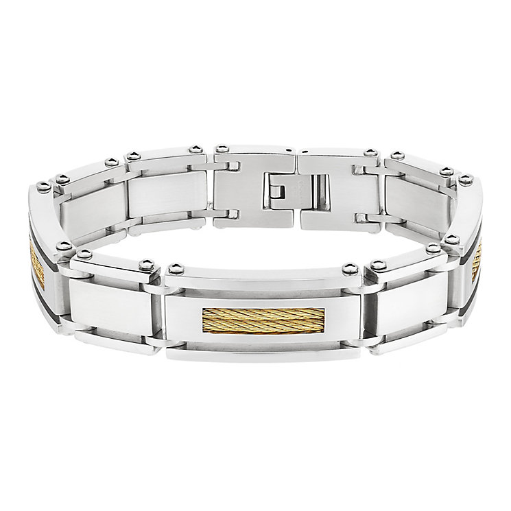 Stainless Steel Two Tone Rope Detail Link Bracelet - Product number 2781557
