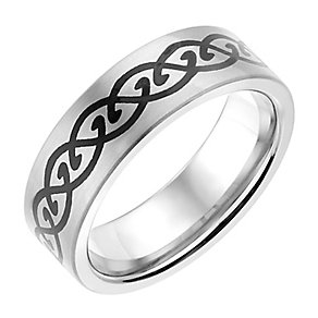 Titanium 7MM Black Celtic Patterned Ring - Product number 2781603