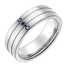 Titanium And Blue Sapphire Groove Detail 7mm Ring - Product number 2781735