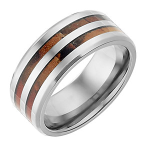Titanium And Red Patterned 9mm Ring - Product number 2781999