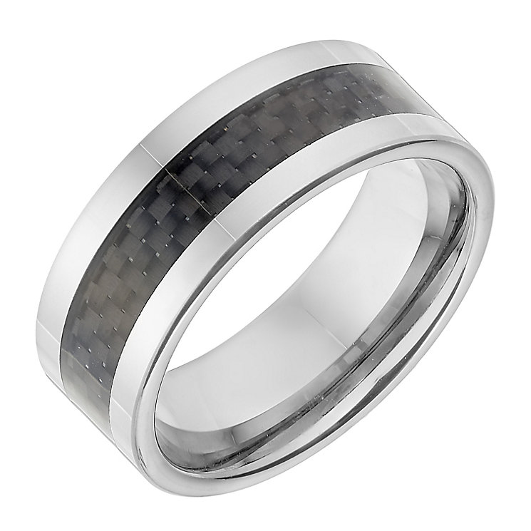 Tungsten 8mm Dark Grey Woven Inlay Ring - Product number 2782391