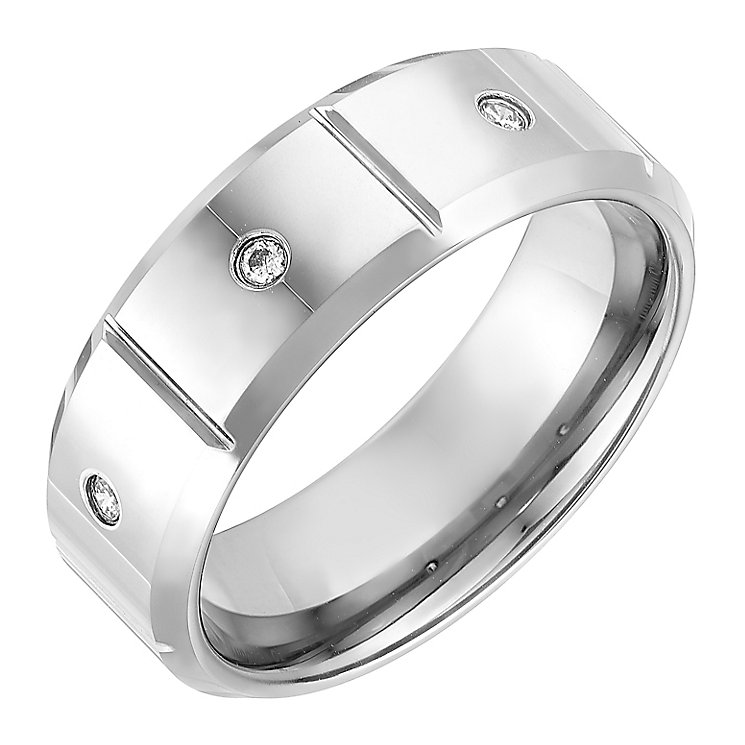 Tungsten 8mm Three Stone Cubic Zirconia Ring - Product number 2782529