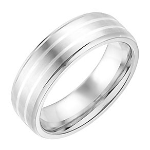 Colbalt & Silver Line Patterned 7MM Ring - Product number 2782790