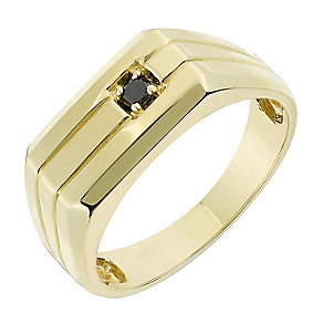 9ct Yellow Gold & Black Sapphire Rectangular Signet Ring - Product number 2783053