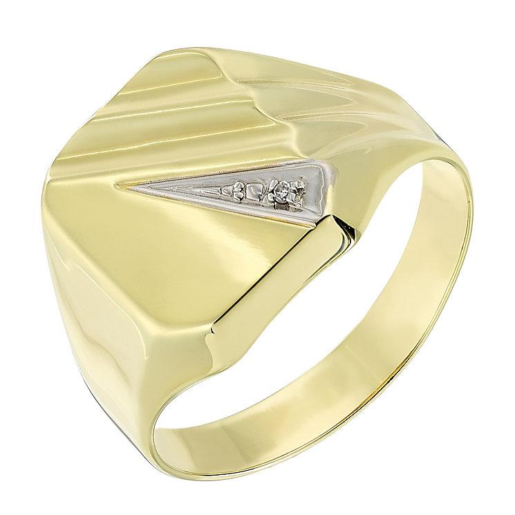 9ct Yellow Gold Diamond Set Rectangular Signet Ring - Product number 2783746