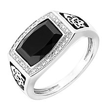 Silver Onyx & Diamond Celtic Design Signet Ring - Product number 2783878
