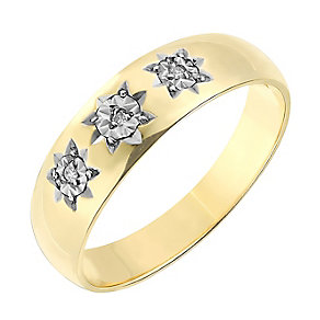 9ct Yellow Gold Diamond Set Star Detail Ring - Product number 2783991