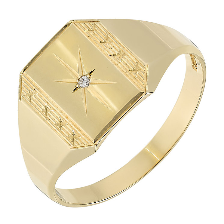 9ct Yellow Gold Diamond Set Rectangular Star Signet Ring - Product number 2784122