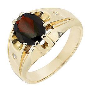9ct Yellow Gold Diamond & Garnet Signet Ring - Product number 2784394