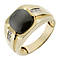 9ct Yellow Gold Diamond & Treated Cat's Eye Signet Ring - Product number 2784645