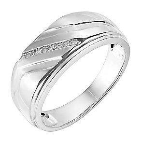 Sterling Silver & Diamond Diagonal Groove Detail Signet Ring - Product number 2784785