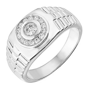 Sterling Silver & Cubic Zirconia Circle Design Signet Ring - Product number 2785188