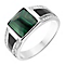 Sterling Silver Malachite & Cubic Zirconia Signet Ring - Product number 2785315