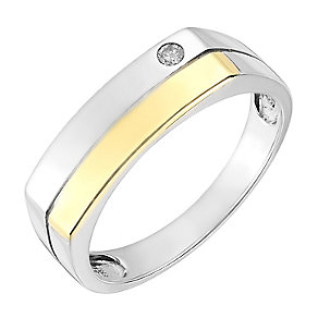 Sterling Silver & 9ct Yellow Gold Diamond Set Signet Ring - Product number 2785587