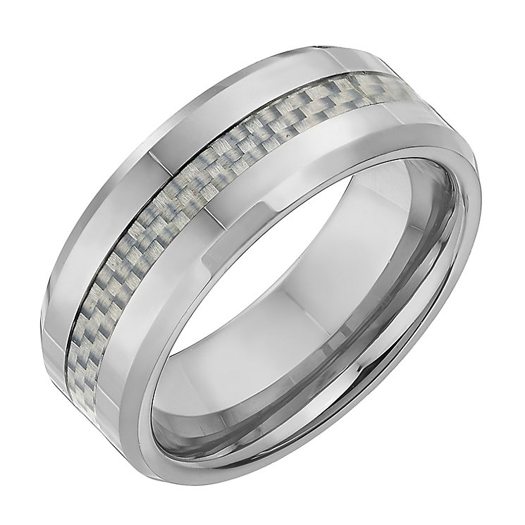 Tungsten 8mm Light Grey Woven Inlay Ring - Product number 2785854