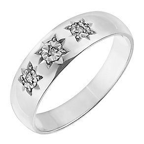 9ct White Gold Diamond Set Star Detail Ring - Product number 2786117
