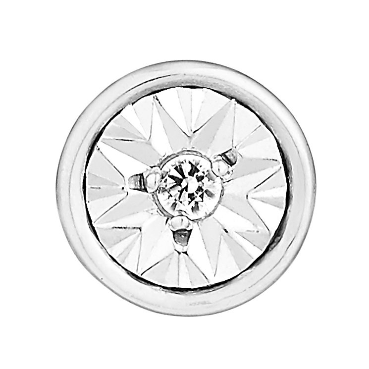 Men's 9ct White Gold Round Diamond Stud Earring - Product number 2786443
