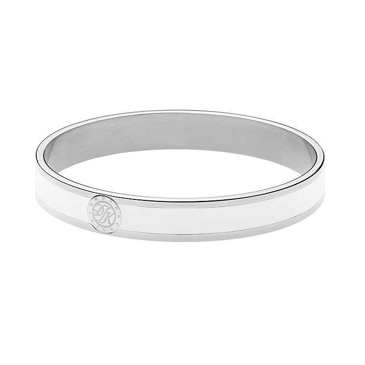 Dyrberg Kern Silver Plate & White Enamel Slim Bangle - Product number 2787253