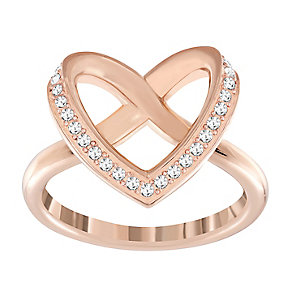 Swarovski rose gold-plated heart crossover ring size Q 1/2 - Product number 2788306