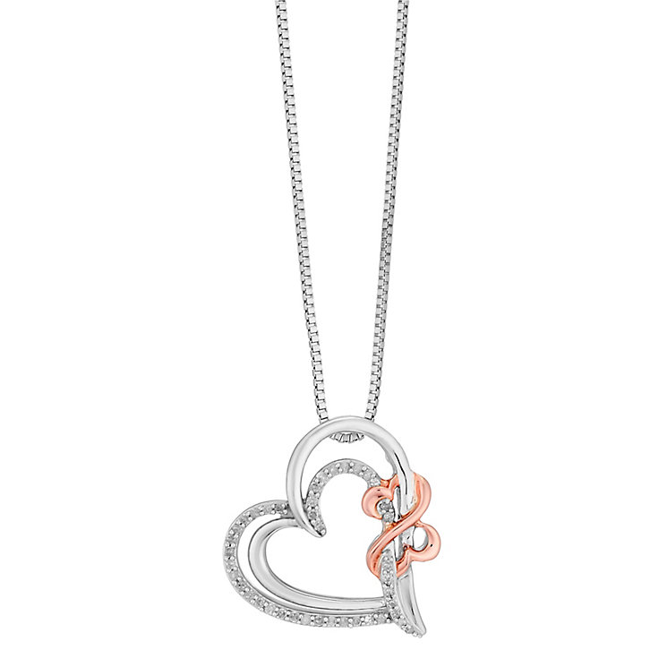 Open Hearts Silver & 9ct Rose Gold Diamond Pendant - Product number 2788705