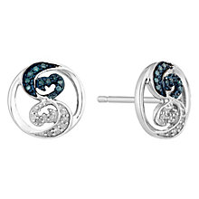 Open Hearts Waves Silver & Treated Blue Diamond Earrings - Product number 2788748