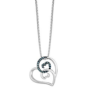 Open Hearts Waves Silver & Treated Blue Diamond Pendant - Product number 2788756