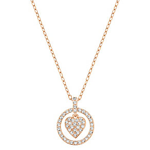 Swarovski rose gold-plated heart and circle pendant - Product number 2788861