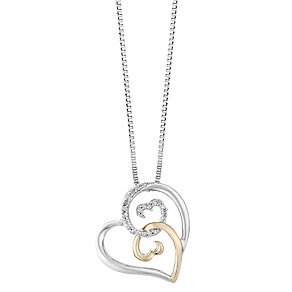 Open Hearts Silver & 9ct Rose Gold Diamond Pendant - Product number 2788896