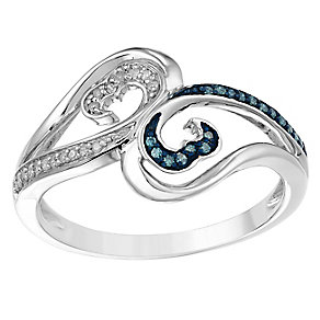 Open Hearts Waves Silver & Treated Blue Diamond Ring - Product number 2788918