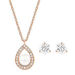 Swarovski rose gold plated crystal pendant and earring set - Product number 2789434