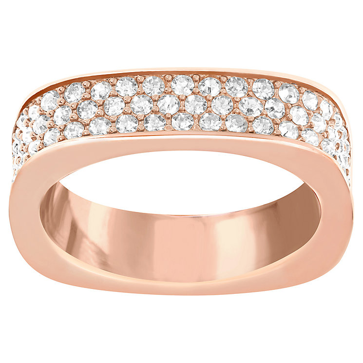 Swarovski rose gold-plated pave crystal ring size N - Product number 2789566