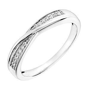 9ct white gold 7 point diamond crossover ring - Product number 2790386