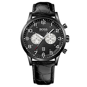 Hugo Boss men's black leather strap watch - Product number 2791196