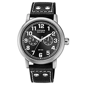 Citizen Eco-Drive Ladies' Black Leather Strap Watch - Product number 2792710