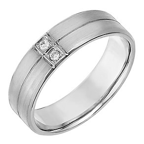 Palladium 950 Diamond Set Matt & Polish 6mm Wedding Ring - Product number 2820773