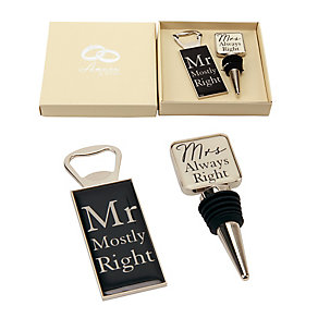 Mr & Mrs Bottle Stop & Opener Set - Product number 2821109