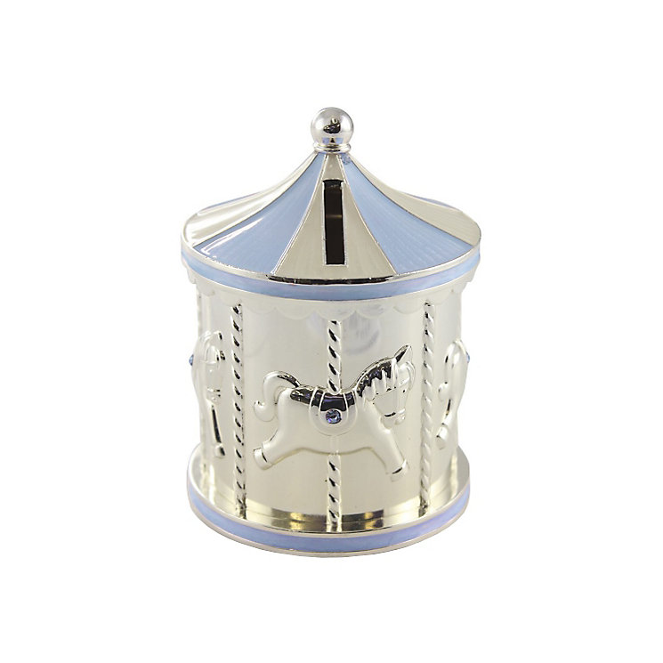 Childhood Memories Silver-Plated Blue Carousel Money Box - Product number 2822423