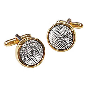 Yellow Gold Plated Two Colour Textured Cufflinks - Product number 2822873