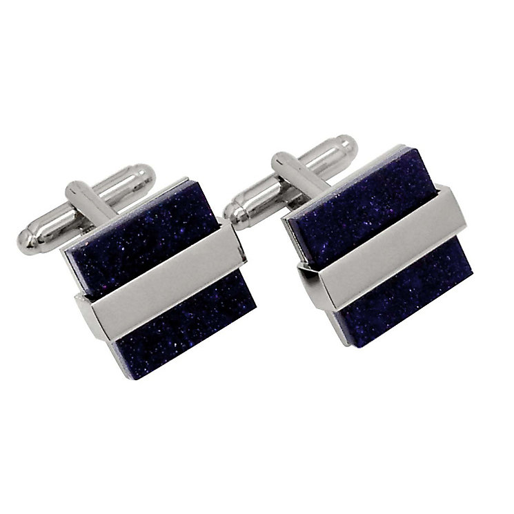 Rhodium Plated Silver Tone & Blue Goldstone Cufflinks - Product number 2822881