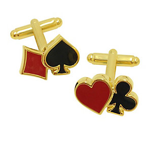 Yellow Gold Plate & Enamel Playing Card Suits Cufflinks - Product number 2822903